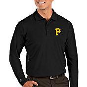 Antigua Men's Pittsburgh Pirates Tribute Long Sleeve Performance Black Polo