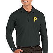Antigua Men's Pittsburgh Pirates Grey Tribute Long Sleeve Performance Polo