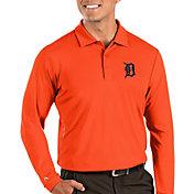 Antigua Men's Detroit Tigers Orange Tribute Long Sleeve Performance Polo