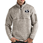 Antigua Men's BYU Cougars Oatmeal Fortune Pullover Black Jacket