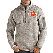 Antigua Men's Clemson Tigers Oatmeal Fortune Pullover Black Jacket