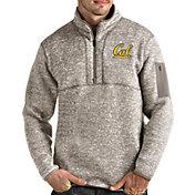 Antigua Men's Cal Golden Bears Oatmeal Fortune Pullover Black Jacket