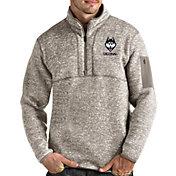 Antigua Men's UConn Huskies Oatmeal Fortune Pullover Black Jacket