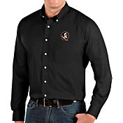Antigua Men's Florida State Seminoles Dynasty Long Sleeve Button-Down Black Shirt