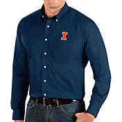 Antigua Men's Illinois Fighting Illini Blue Dynasty Long Sleeve Button-Down Shirt