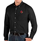 Antigua Men's Louisville Cardinals Dynasty Long Sleeve Button-Down Black Shirt