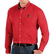 Antigua Men's Louisville Cardinals Cardinal Red Dynasty Long Sleeve Button-Down Shirt