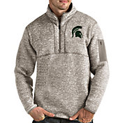 Antigua Men's Michigan State Spartans Oatmeal Fortune Pullover Black Jacket