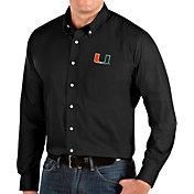 Antigua Men's Miami Hurricanes Dynasty Long Sleeve Button-Down Black Shirt