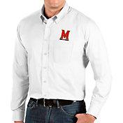 Antigua Men's Maryland Terrapins Dynasty Long Sleeve Button-Down White Shirt