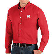 Antigua Men's Nebraska Cornhuskers Scarlet Dynasty Long Sleeve Button-Down Shirt