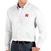 Antigua Men's Nebraska Cornhuskers Dynasty Long Sleeve Button-Down White Shirt