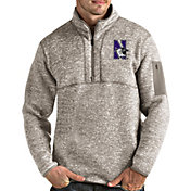 Antigua Men's Northwestern Wildcats Oatmeal Fortune Pullover Black Jacket
