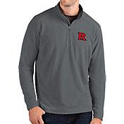 Antigua Men's Rutgers Scarlet Knights Grey Glacier Quarter-Zip Shirt