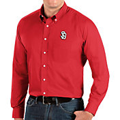 Antigua Men's South Dakota Coyotes Red Dynasty Long Sleeve Button-Down Shirt
