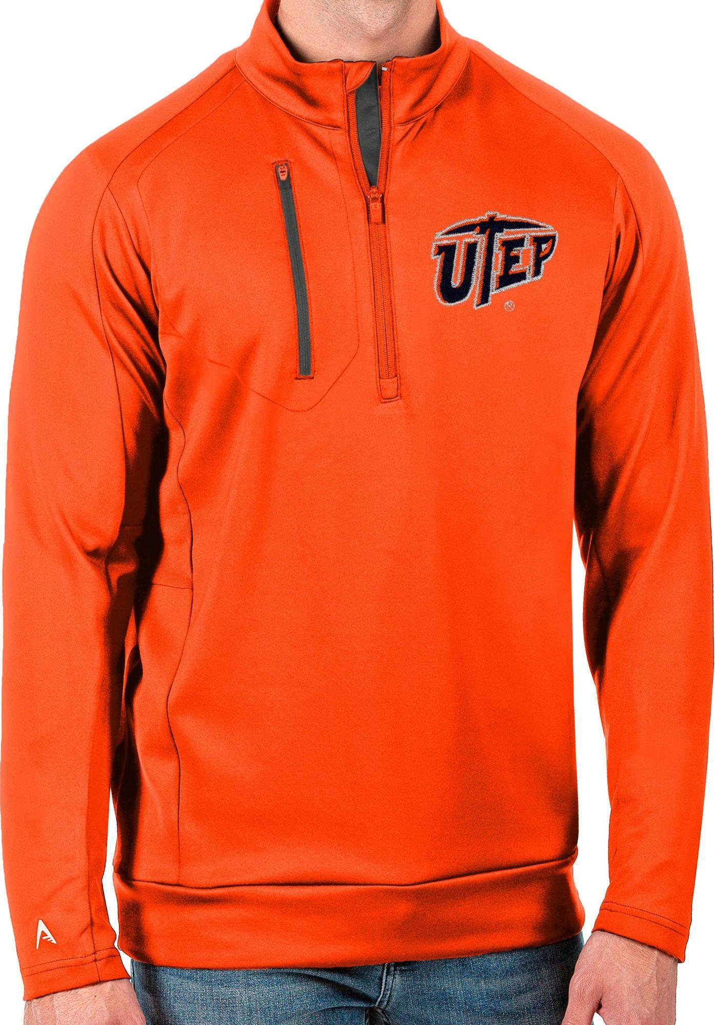 Antigua Men's UTEP Miners Blaze Orange Generation Half-Zip Pullover Shirt, Small, Blue thumbnail