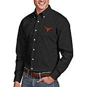 Antigua Men's Texas Longhorns Dynasty Long Sleeve Button-Down Black Shirt