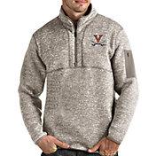 Antigua Men's Virginia Cavaliers Oatmeal Fortune Pullover Black Jacket