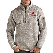Antigua Men's Wisconsin Badgers Oatmeal Fortune Pullover Black Jacket