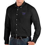 Antigua Men's Washington Huskies Dynasty Long Sleeve Button-Down Black Shirt
