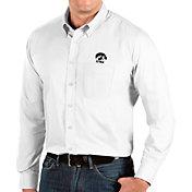 Antigua Men's Iowa Hawkeyes Dynasty Long Sleeve Button-Down White Shirt