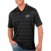 Antigua Men's Detroit Lions Compass Black Polo