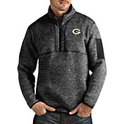 Antigua Men's Green Bay Packers Fortune Black Pullover Jacket