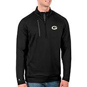 Antigua Men's Green Bay Packers Black Generation Half-Zip Pullover
