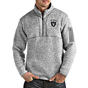 Antigua Men's Las Vegas Raiders Fortune Grey Quarter-Zip Pullover