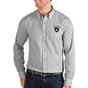 Antigua Men's Las Vegas Raiders Structure Button Down Grey Collared Shirt