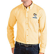 Antigua Men's Los Angeles Rams Gold Structure Button Down Long Sleeve Shirt