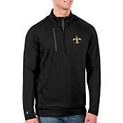 Antigua Men's New Orleans Saints Black Generation Half-Zip Pullover