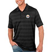 Antigua Men's Pittsburgh Steelers Compass Black Polo