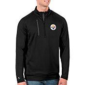 Antigua Men's Pittsburgh Steelers Black Generation Half-Zip Pullover
