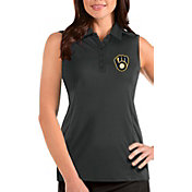 Antigua Women's Milwaukee Brewers Grey Tribute Sleeveless Polo