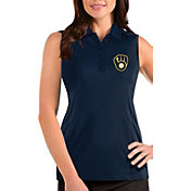 Antigua Women's Milwaukee Brewers Navy Tribute Sleeveless Polo