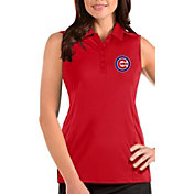 Antigua Women's Chicago Cubs Red Tribute Sleeveless Polo