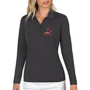 Antigua Women's St. Louis Cardinals Grey Tribute Long Sleeve Performance Polo