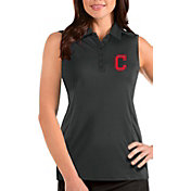 Antigua Women's Cleveland Indians Grey Tribute Sleeveless Polo