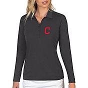 Antigua Women's Cleveland Indians Grey Tribute Long Sleeve Performance Polo