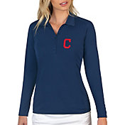 Antigua Women's Cleveland Indians Navy Tribute Long Sleeve Performance Polo