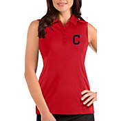 Antigua Women's Cleveland Indians Red Tribute Sleeveless Polo