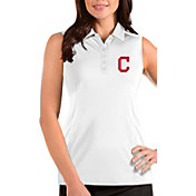Antigua Women's Cleveland Indians White Tribute Sleeveless Polo