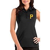 Antigua Women's Pittsburgh Pirates Black Tribute Sleeveless Polo