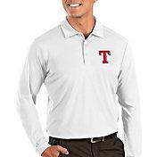 Antigua Men's Texas Rangers Tribute Long Sleeve Performance White Polo