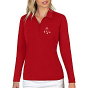 Antigua Women's Boston Red Sox Red Tribute Long Sleeve Performance Polo