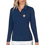 Antigua Women's Houston Astros Navy Tribute Long Sleeve Performance Polo