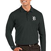 Antigua Men's Detroit Tigers Grey Tribute Long Sleeve Performance Polo