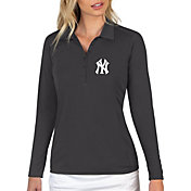 Antigua Women's New York Yankees Grey Tribute Long Sleeve Performance Polo
