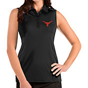 Antigua Women's Texas Longhorns Tribute Sleeveless Black Polo